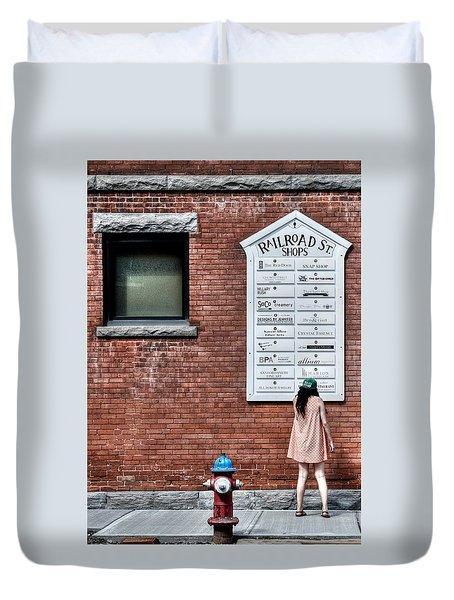 Walking On Railroad Street No. 3 - The Girl In The Polka Dot Dress Duvet Cover