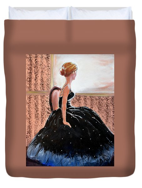 Girl In The Sequin Gown Duvet Cover