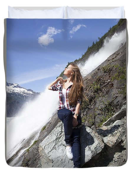 Girl In White Shoes Duvet Cover
