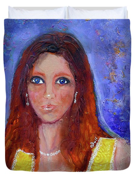 Girl In Yellow Dress Duvet Cover by Claire Bull