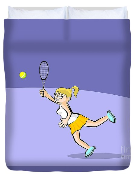 Girl Jumps To Hit The Tennis Ball With Her Racket Duvet Cover