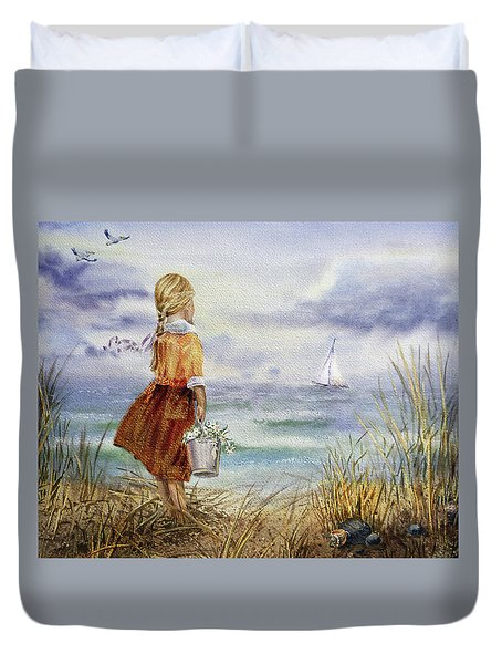 Duvet Cover featuring the painting Girl Ocean Shore Birds And Seashell by Irina Sztukowski