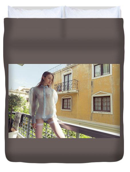 Girl On Balcony Duvet Cover