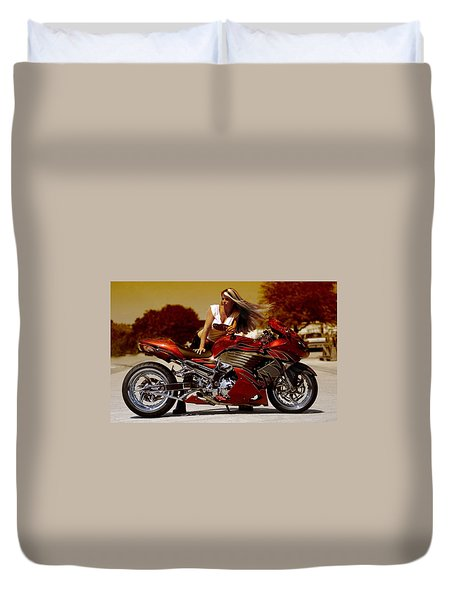 Duvet Cover featuring the photograph Girl On Fire by Lawrence Christopher
