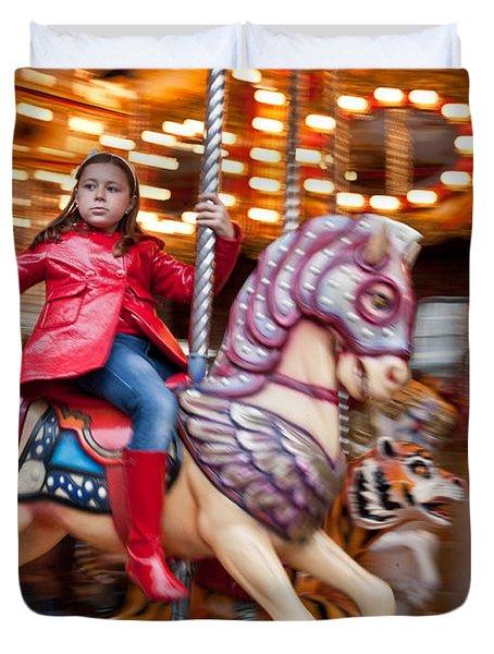 Girl On Merry Go Round Duvet Cover