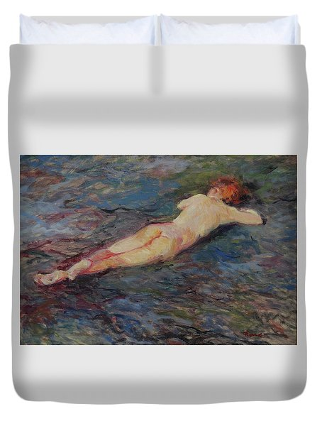 Girl On Volcanic Beach, Spain Duvet Cover