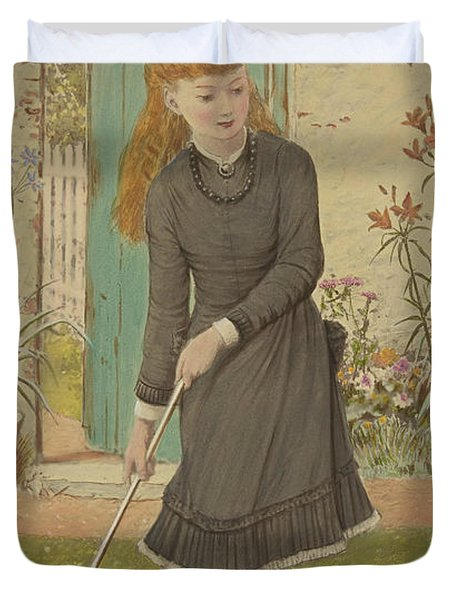 Girl Playing Croquet Duvet Cover