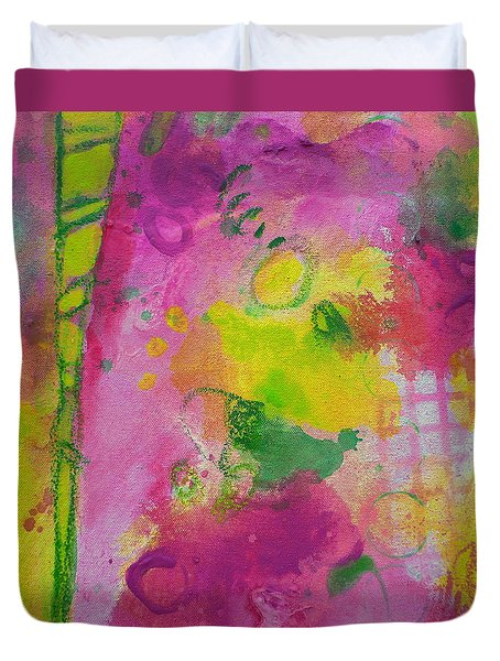 Duvet Cover featuring the painting Girl Power by Tracy Bonin