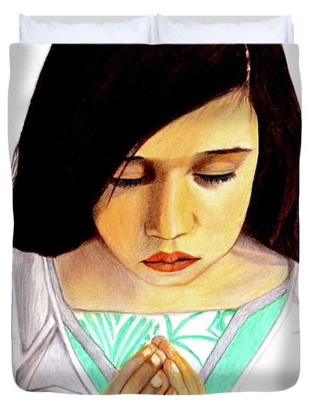 Girl Praying Drawing Portrait By Saribelle Duvet Cover by Saribelle Rodriguez