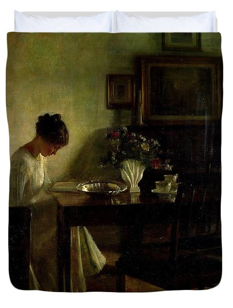 Girl Reading In An Interior  Duvet Cover by Carl Holsoe