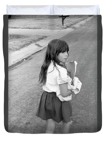 Girl Returns Home From School, 1971 Duvet Cover