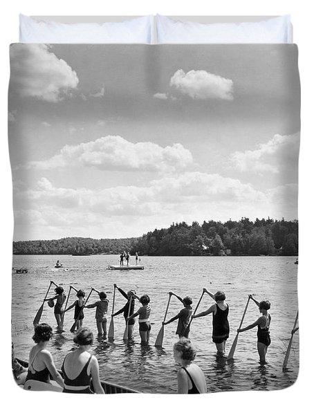 Girl Scout Canoe Lessons Duvet Cover