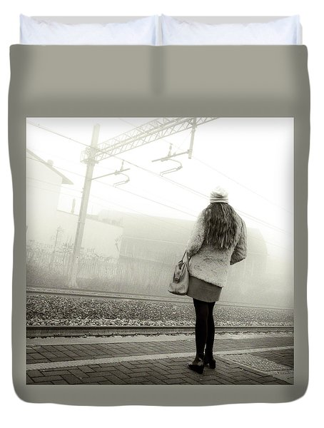 Girl Waiting The Train Duvet Cover