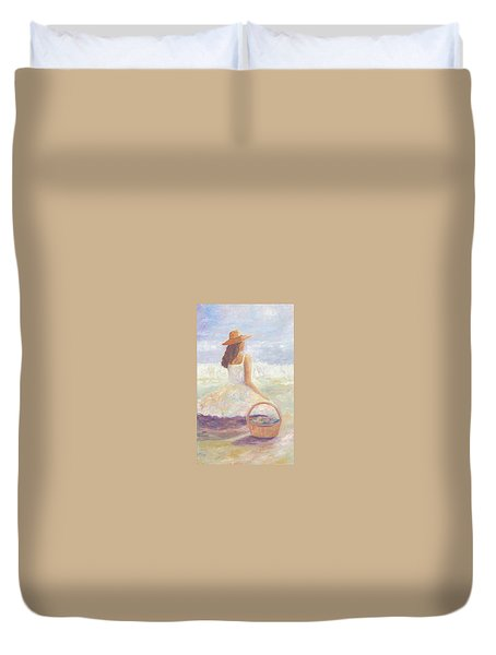 Girl With A Basket Duvet Cover