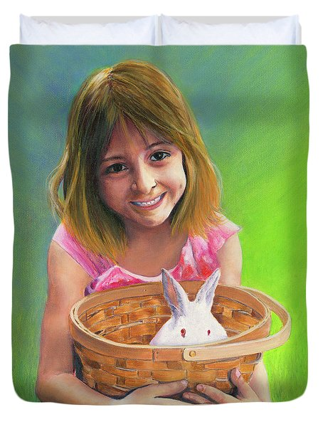 Duvet Cover featuring the painting Girl With A Bunny by Jeanette French