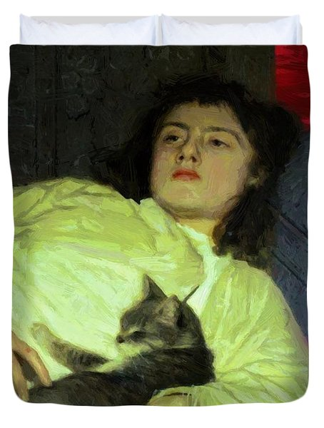 Girl With A Cat 1882 Duvet Cover