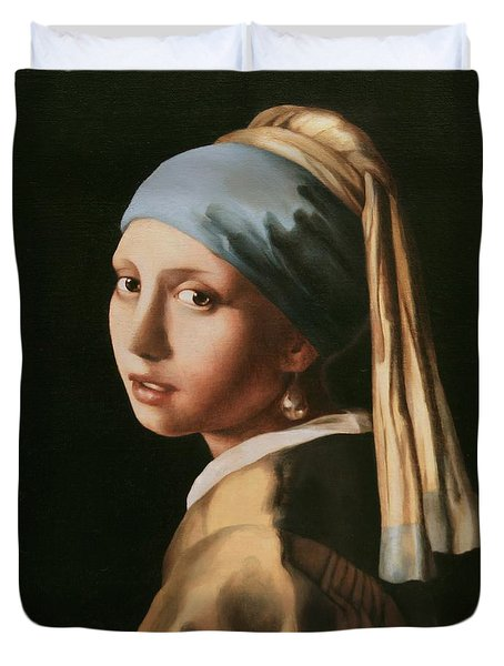 Girl With A Pearl Earring - After Vermeer Duvet Cover