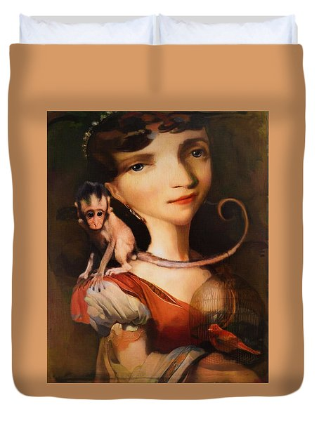 Girl With A Pet Monkey Duvet Cover