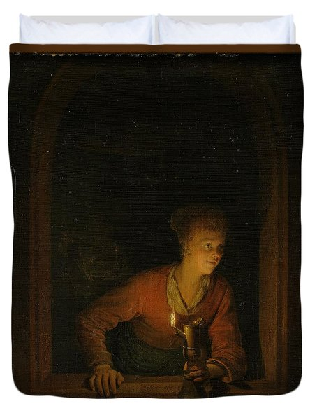 Girl With An Oil Lamp At A Window Duvet Cover by Gerard Dou