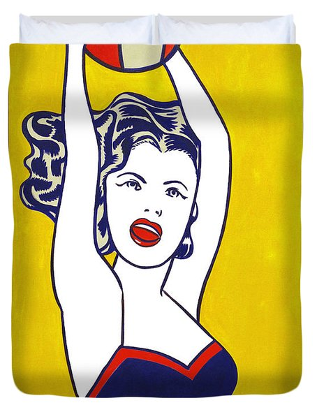 Girl With Ball - Pop Art - Roy Lichtenstein Duvet Cover