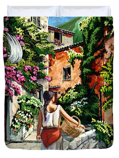 Girl With Basket On A Greek Island Duvet Cover