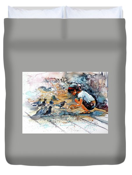 Duvet Cover featuring the painting Girl With Birds by Kovacs Anna Brigitta