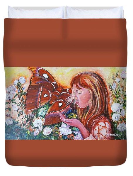 Girl With Butterflies Duvet Cover by Rita Fetisov