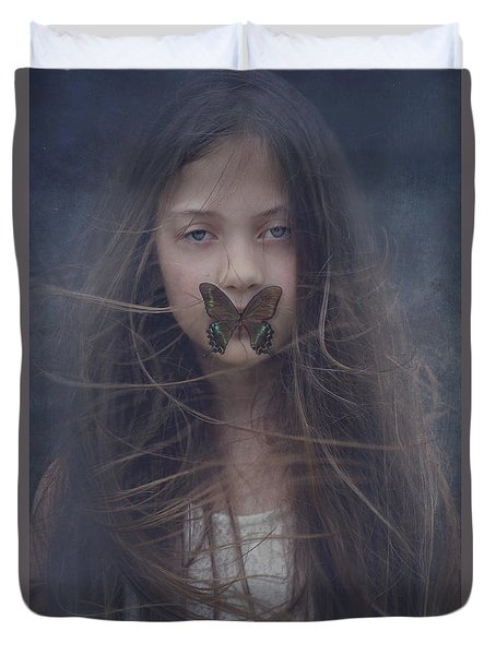Girl With Butterfly Over Lips Duvet Cover