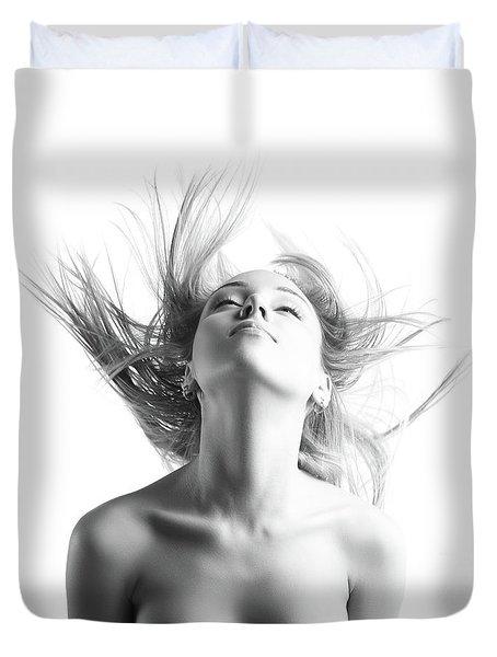 Girl With Flying Blond Hair Duvet Cover by Olena Zaskochenko