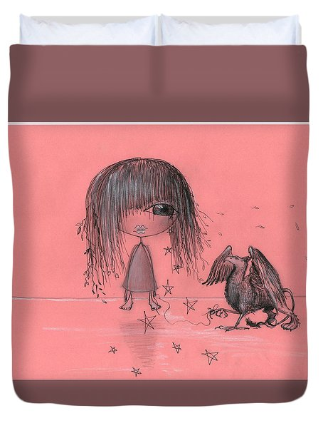 Girl With Griffin  Duvet Cover