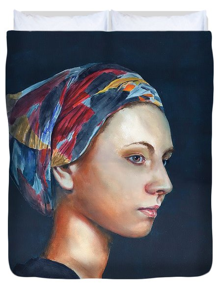 Girl With Headscarf Duvet Cover