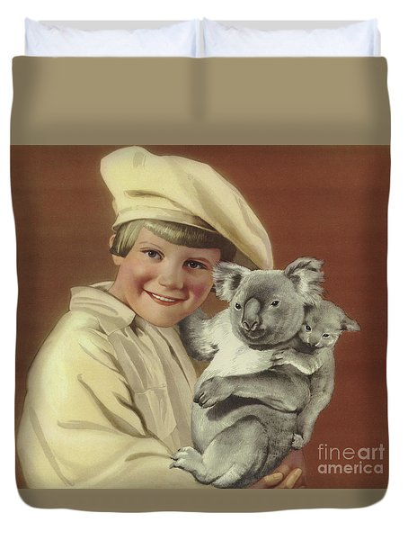 Girl With Koala And Its Baby Duvet Cover