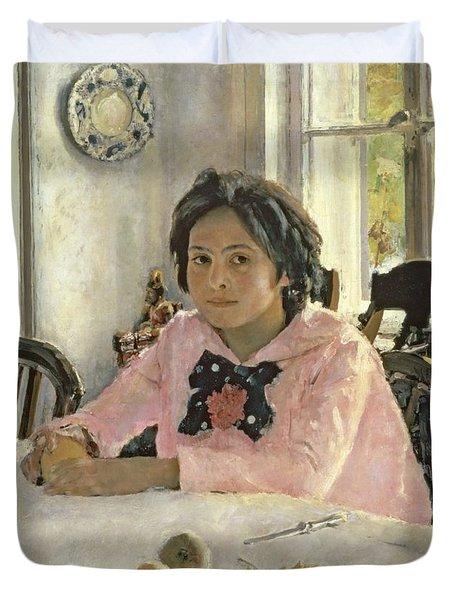 Girl With Peaches Duvet Cover by Valentin Aleksandrovich Serov