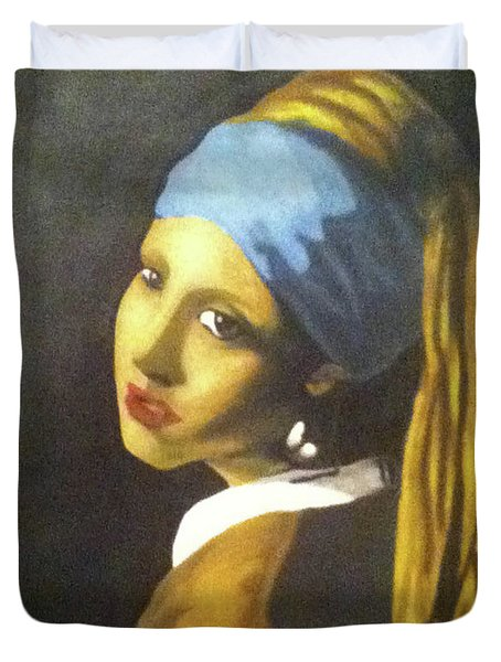 Duvet Cover featuring the painting Girl With Pearl Earring by Jayvon Thomas