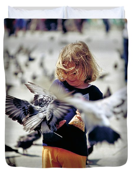 Girl With Pigeons Duvet Cover by Heiko Koehrer-Wagner
