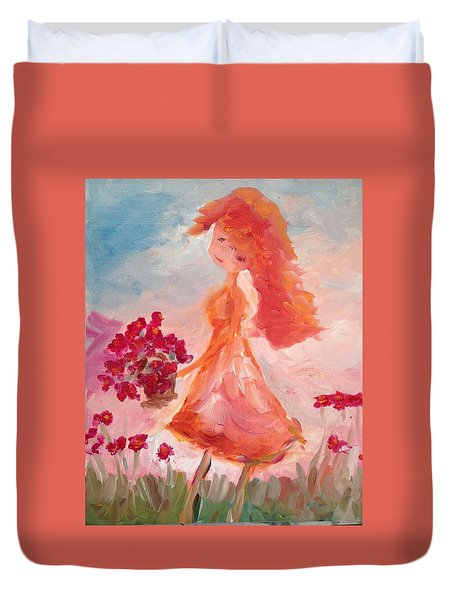 Girl With Poppies Duvet Cover by Roxy Rich