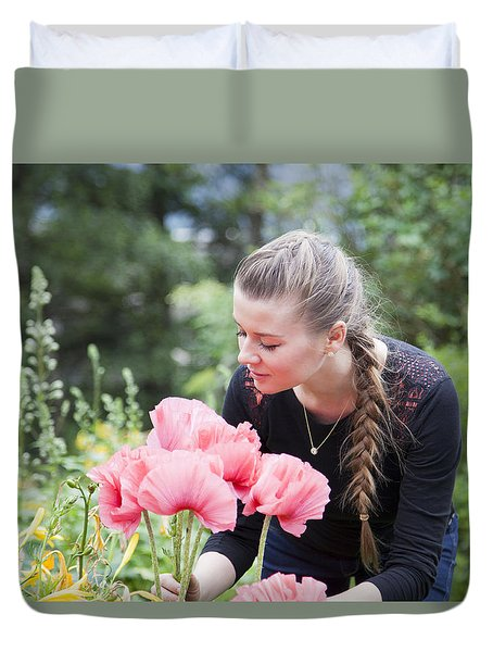 Girl With Red Flowers Duvet Cover