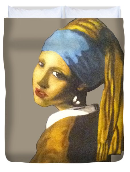Duvet Cover featuring the painting Girl With The Pearl Earring No Background by Jayvon Thomas