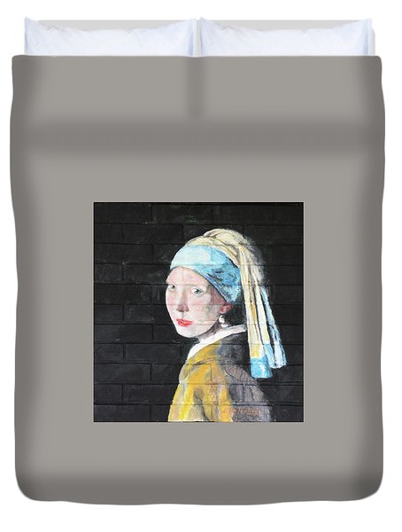 Duvet Cover featuring the painting Girl With The Pearl Earring by Stan Tenney