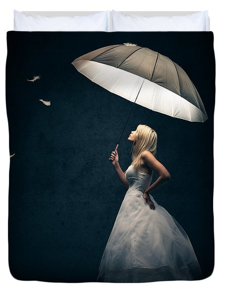 Girl With Umbrella And Falling Feathers Duvet Cover by Johan Swanepoel