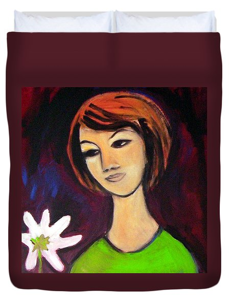 Duvet Cover featuring the painting Girl With White Flower by Winsome Gunning