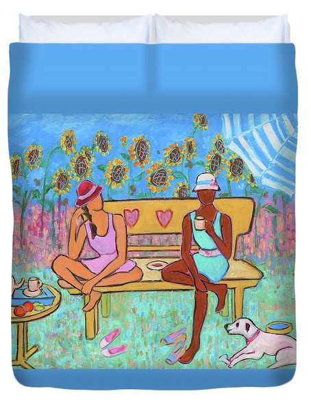 Duvet Cover featuring the painting Girlfriends' Teatime IIi by Xueling Zou