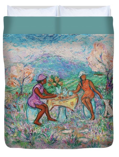 Duvet Cover featuring the painting Girlfriends' Teatime Iv by Xueling Zou