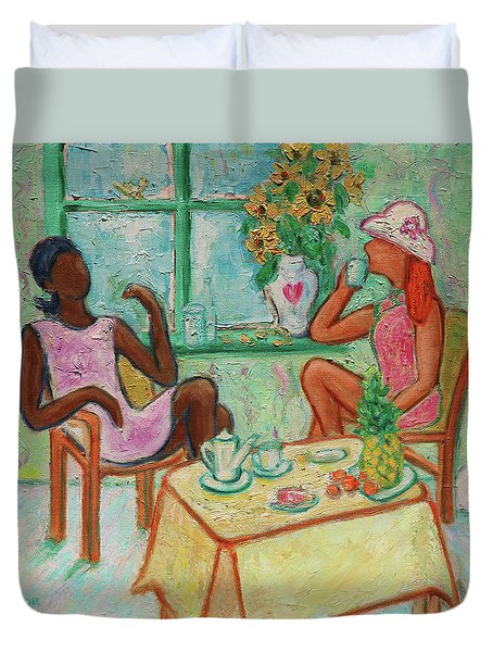 Duvet Cover featuring the painting Girlfriends' Teatime V by Xueling Zou