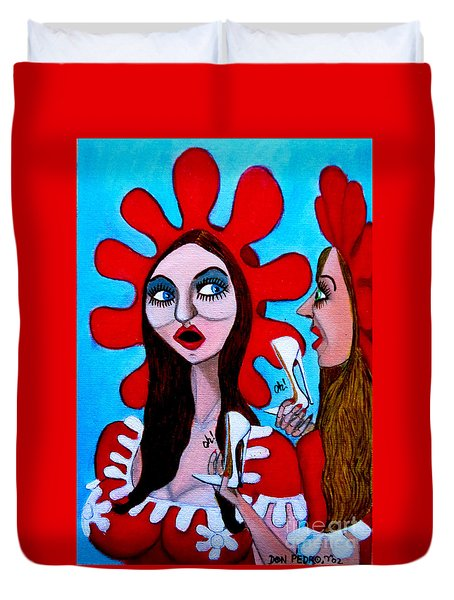 Duvet Cover featuring the painting Countrygirls Amazed By A Pair Of Stilettos by Don Pedro De Gracia
