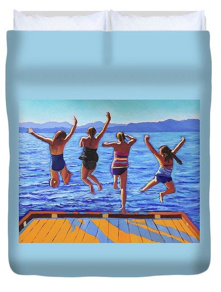 Girls Jumping Duvet Cover