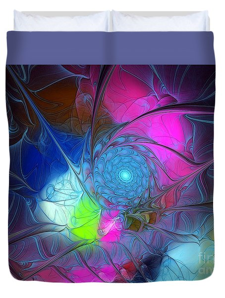 Duvet Cover featuring the digital art Girls Love Pink by Karin Kuhlmann