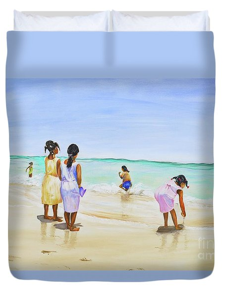 Duvet Cover featuring the painting Girls On The Beach by Patricia Piffath