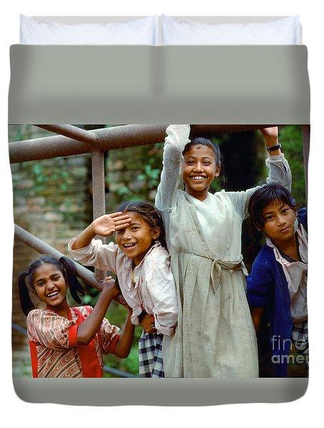 Girls Smiling In Kathmandu, Nepal Duvet Cover