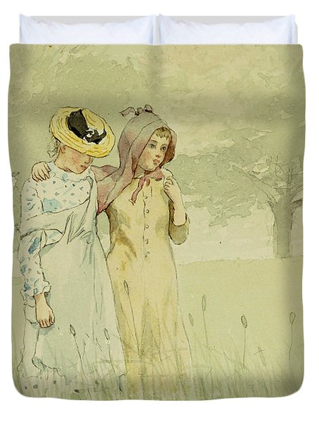 Girls Strolling In An Orchard Duvet Cover